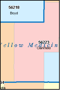 YELLOW MEDICINE County, MN ZIP Code Map
