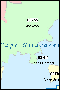 CAPE GIRARDEAU County, MO ZIP Code Map