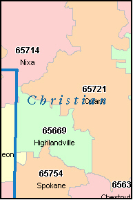 CHRISTIAN County, MO ZIP Code Map