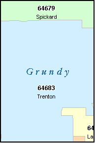 GRUNDY County, MO ZIP Code Map