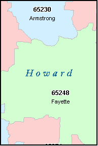 HOWARD County, MO ZIP Code Map