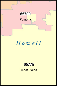 HOWELL County, MO ZIP Code Map