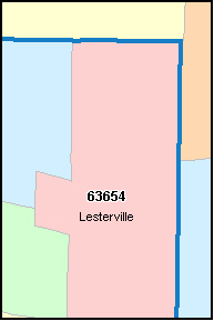 IRON County, MO ZIP Code Map