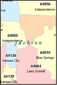JACKSON County, MO ZIP Code Map