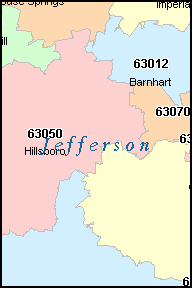 JEFFERSON County, Missouri Digital ZIP Code Map