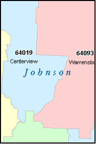 JOHNSON County, MO ZIP Code Map