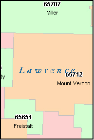 LAWRENCE County, MO ZIP Code Map