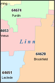 BROOKFIELD Missouri, MO ZIP Code Map
