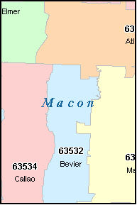 MACON County, MO ZIP Code Map