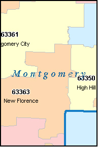MONTGOMERY County, MO ZIP Code Map