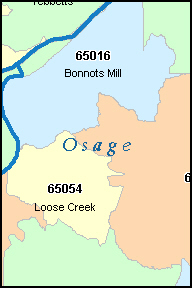 OSAGE County, MO ZIP Code Map