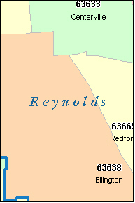REYNOLDS County, MO ZIP Code Map