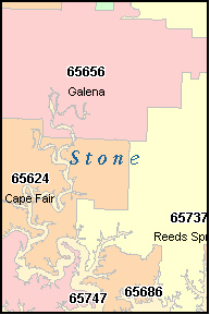 STONE County, MO ZIP Code Map