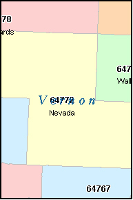 VERNON County, MO ZIP Code Map