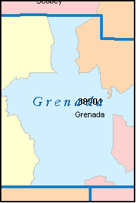 GRENADA County, MS ZIP Code Map