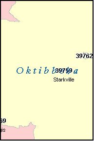 OKTIBBEHA County, MS ZIP Code Map