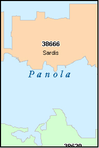 PANOLA County, MS ZIP Code Map