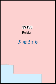 SMITH County, MS ZIP Code Map