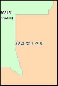 DAWSON County, MT ZIP Code Map