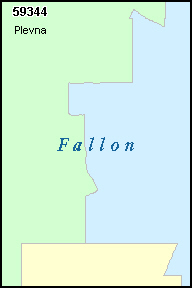 FALLON County, MT ZIP Code Map
