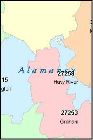 ALAMANCE County, NC ZIP Code Map