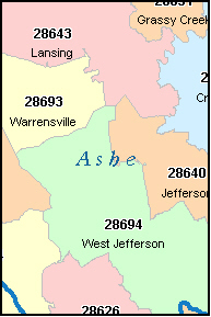 ASHE County, NC ZIP Code Map