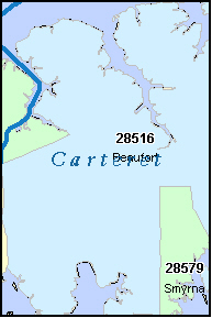 CARTERET County, NC ZIP Code Map