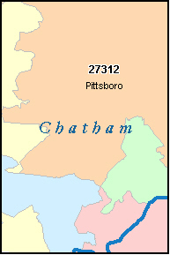 CHATHAM County, NC ZIP Code Map