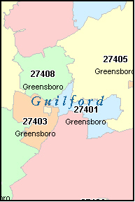 GUILFORD County, NC ZIP Code Map