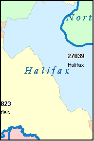 HALIFAX County, NC ZIP Code Map