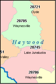 HAYWOOD County, NC ZIP Code Map
