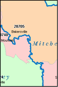 MITCHELL County, NC ZIP Code Map