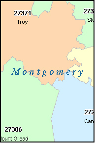 MONTGOMERY County, NC ZIP Code Map