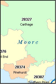 MOORE County, NC ZIP Code Map