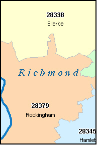 RICHMOND County, NC ZIP Code Map