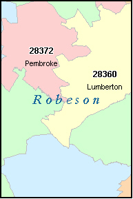 LUMBERTON North Carolina, NC ZIP Code Map