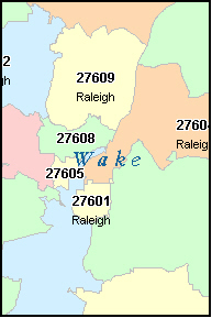 RALEIGH North Carolina, NC ZIP Code Map