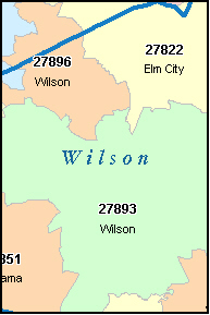 WILSON North Carolina, NC ZIP Code Map