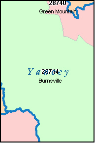YANCEY County, NC ZIP Code Map