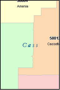 CASS County, North Dakota Digital ZIP Code Map