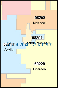 GRAND FORKS North Dakota, ND ZIP Code Map Downloads