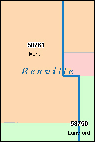 RENVILLE County, ND ZIP Code Map