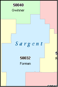 SARGENT County, North Dakota Digital ZIP Code Map