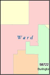 WARD County, North Dakota Digital ZIP Code Map