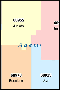 ADAMS County, NE ZIP Code Map
