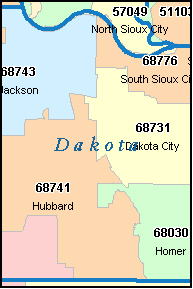 DAKOTA County, Nebraska Digital ZIP Code Map