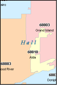 HALL County, NE ZIP Code Map