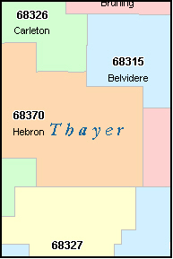 THAYER County, NE ZIP Code Map