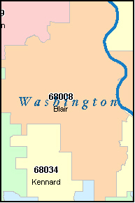 WASHINGTON County, NE ZIP Code Map