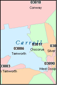 CARROLL County New Hampshire Digital ZIP Code Map